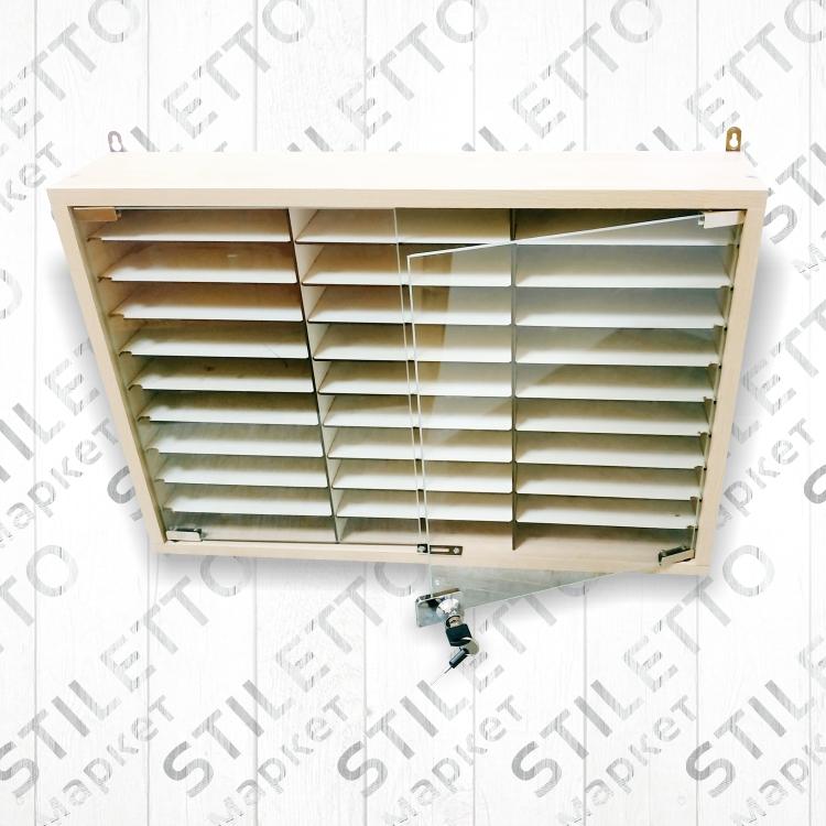 Ящик настенный со стеклянной дверцей (3 х 10 на 30 ячеек)