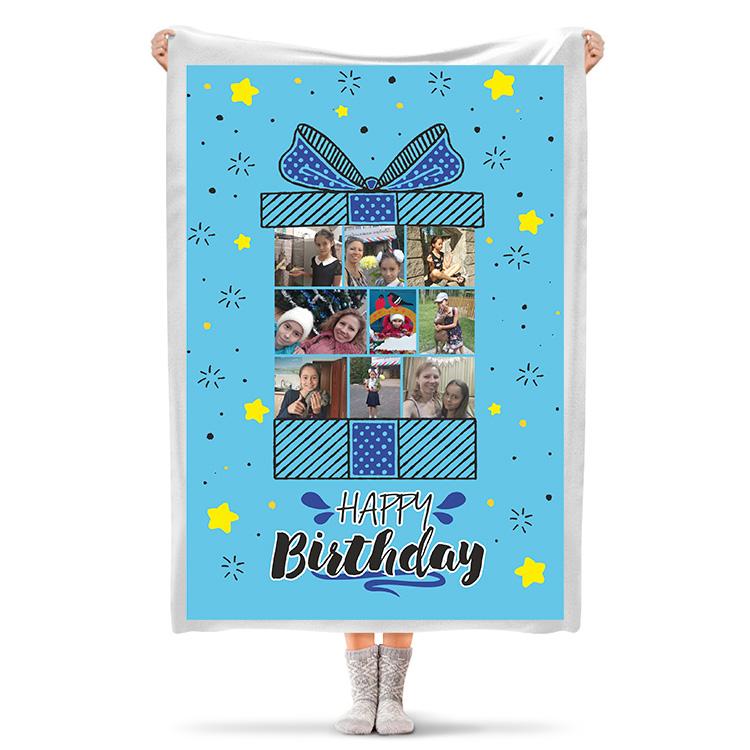 Плед «Happy birthday» шаблон №1